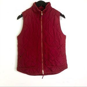 J. Crew Factory Burgundy Zip Up Winter Vest